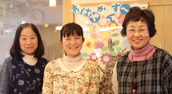 (優しい笑顔が印象的なスタッフ。左から、大倉さん、長友さん、畠山さん。)
